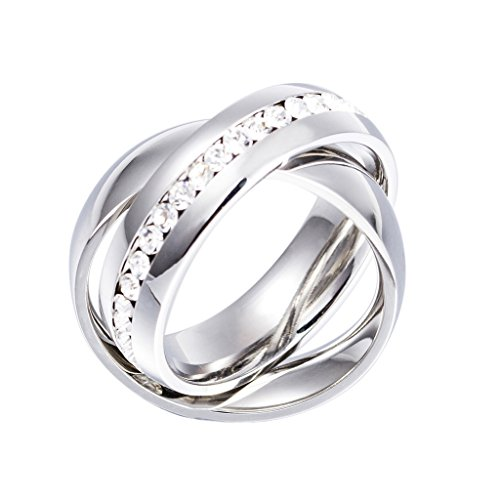 MASOP Women Wedding Jewelry Stainless Steel Austrian Crystal Double 2 Interlock Rolling Ring Band, White, Size 8