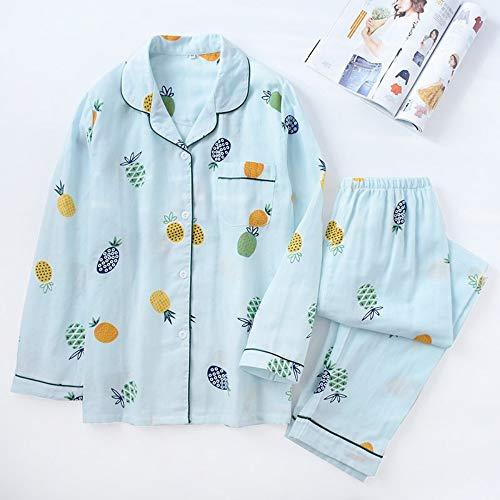 Xl Gasa Pijama Delgada Conjunto Mujer Ahsxl L Larga Algodón Manga Para Y De Conjuntos Ax7PBq
