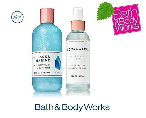 Bath & Body Works AQUAMARINE Set - 2-in-1 Bubbly Wash & Bath Milk and Illuminating Fragrance Mist Full Size
