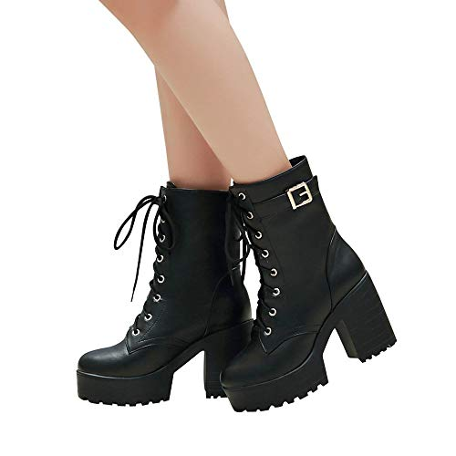 Platform Pump Trim (Baigoods Women's Punk Studded Platform Thick Bottom High Heel Chunky Heels Lace Up Ankle Ankle Boots with Zipper)