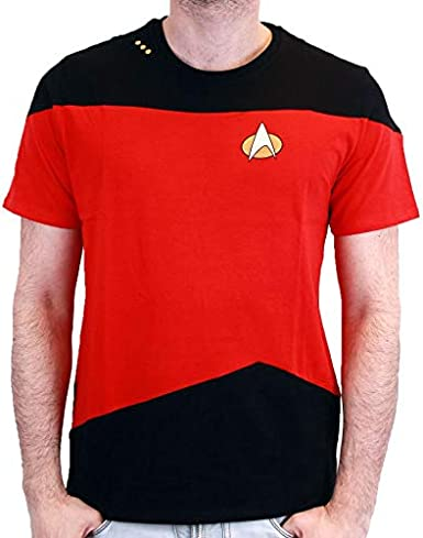 Colore: Rosso Maglietta a Maniche Corte Motivo: Star Trek-Uniform Scott da Uomo