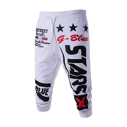 terbklf New Men's Sports Shorts Summer Drawstring Elastic Waist Fashion Letters Printing Loose Sweatpants Jogging Pants White