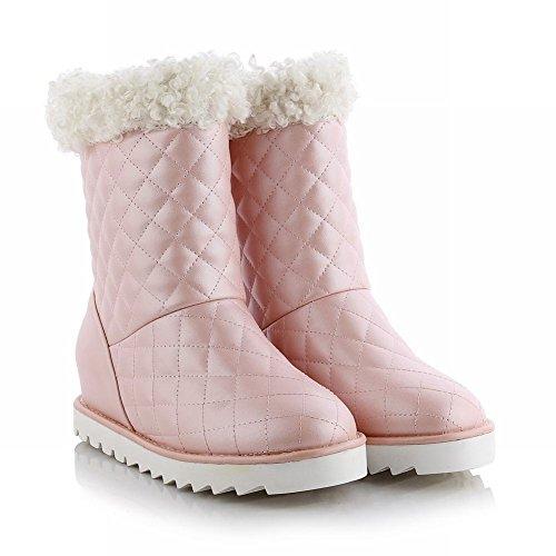 Carolbar Vrouwen Namaakbont Decoraties Mode Schattige Mooie Warme Verborgen Hak Snowboots Roze