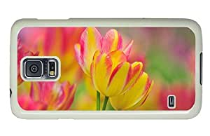 Hipster Samsung Galaxy S5 Case coolest yellow pink tulips PC White for Samsung S5