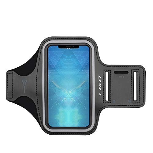 "J&D Armband Compatible for iPhone Xs Max 6.5"" Armband, Sports Armband with Key Holder Slot for Apple iPhone Xs Max 6.5 inch Running Armband, Perfect Earphone Connection While Workout Running - Black"