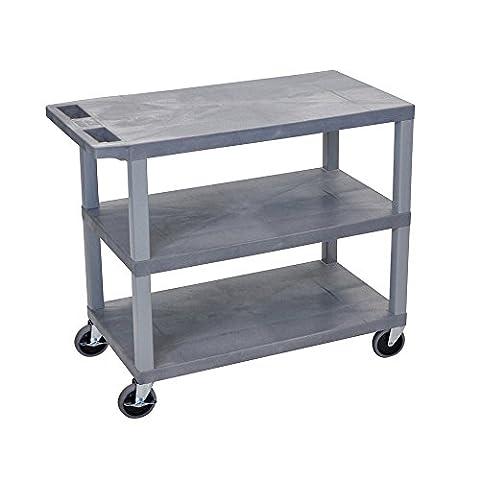 LUXOR EC222-G Cart, 3 Flat Shelves, 18