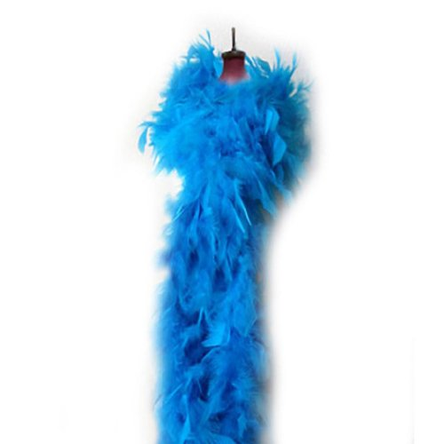 SACASUSA (TM) Turquoise Feather Chandelle Boa one size 6 feet -