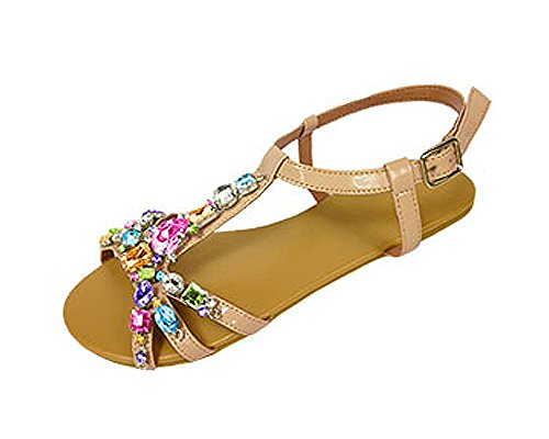 P26 Womens Roman Gladiator Sandals Flats Thongs Shoes W/Rhinestones (9/10, Nude Multi) (Shoes Roman Sandals)
