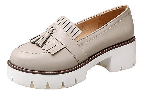 Allhqfashion Mujeres Pu Round-toe Kitten-heels Pull-on Con Flecos Pumps-shoes Albaricoque