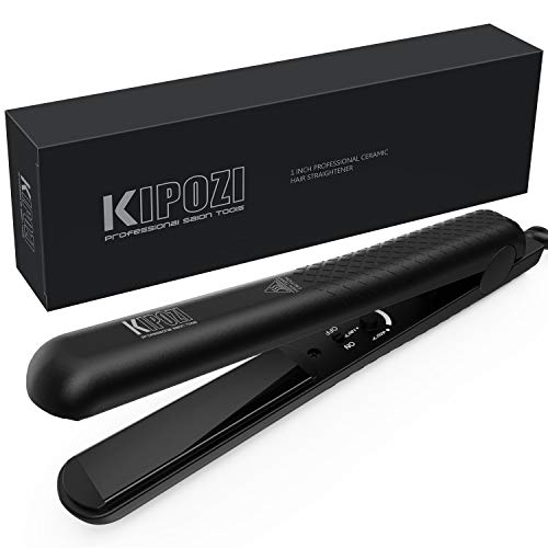 KIPOZI Pro Flat Iron Hair Straightener with Ceramic Plates Adjustable Temp – Straightens Curls All hair Type Anti frizz, 1 Inch Dual Voltage for Travel, Auto Off, Black