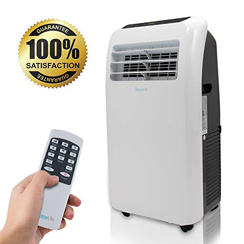 powerful SereneLife 10,000 BTU Portable Air Conditioner + 9,000 BTU Heater, 4-in-1 AC Unit with Built-in Dehumidifier, Fan Modes, Remote Control, Complete Window Exhaust Kit for Rooms Up to 350 Sq. Ft