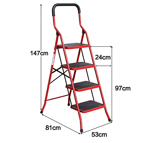 Ping Bu Qing Yun 3 Sizes - Wrought Iron Folding Stool - Adult Chair Non-Slip Ladder with Non-Slip Foot Pedal - Outdoor Portable footrest/Ladder/Storage Rack/Flower Stand Step Stool