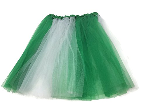 [Rush Dance Multi Color Women's Costume Ballet Warrior Dash Run Tutu (Adult, Kelly Green/ White (St Patrick's Day))] (St Patrick Day Costumes Plus Size)