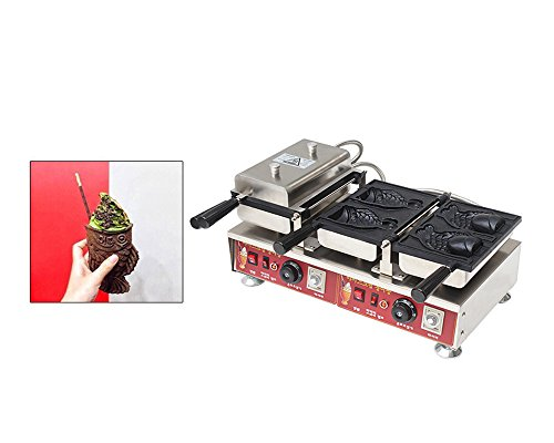 Double Head Japanese Taiyaki Maker Waffle Maker Fish-shaped Cake Ice Cream Baking Machine (110V USA - Bakelite Cream