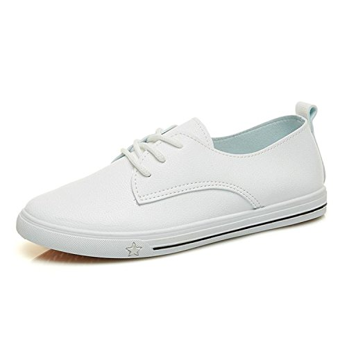Welcometoo 2019 Spring Summer New Leather Women Shoe Casual Leather Shoes  for Women Flat Shoes White Ladies Lacing Loafers Zapatos Mujer a2b8796b3214