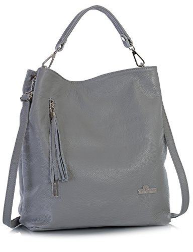 ine Italian Leather Hobo Shopper Shoulder bag with Protective Dust Bag - Gwen Light Grey (Italian Leather Large Hobo)