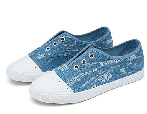 Nvxie Shoes Lady Flat Di Cowboy Studenti Scuola Giornaliera Due Permeabilità Canapa Bottom Leisure Colori Blue Tela QCtshrdxB