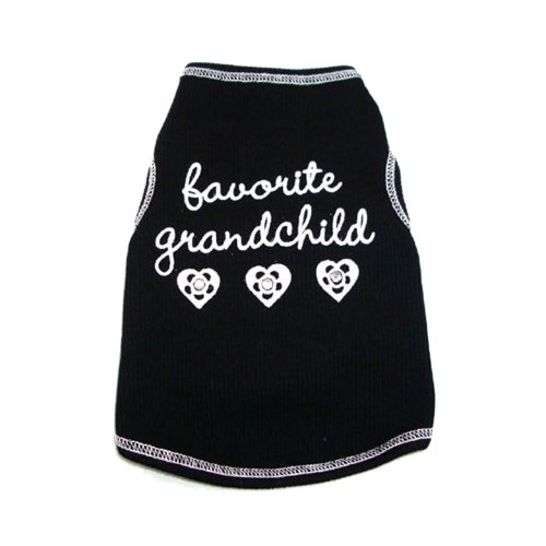 I See Spot's Dog Pet Cotton T-Shirt Tank, Favorite Grandchild, Small, Black, My Pet Supplies