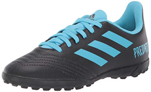 adidas Unisex Predator 19.4 Turf Soccer Shoe, Black/Bright Cyan/Solar Yellow, 1.5 M US Little Kid