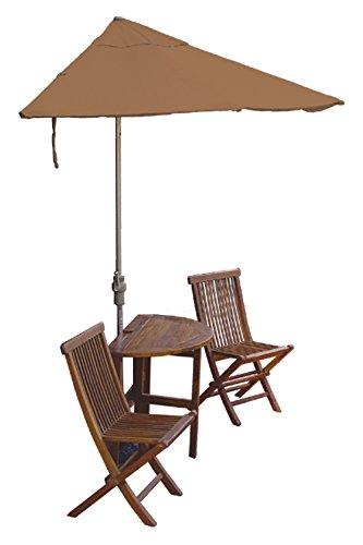 Blue Star Group Terrace Mates Bistro Economy Table Set w/ 7.5'-Wide OFF-THE-WALL BRELLA - Teak Sunbrella Canopy