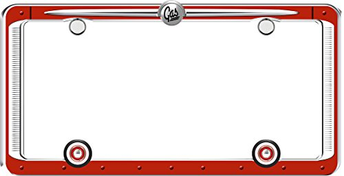 Cruiser Accessories 58463 Red/Chrome Vintage License Plate Frame with Fastener - Vintage Frame Shop