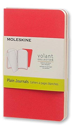 Moleskine Volant Journal, Soft Cover, XS (2.5 x 4) Plain/Blank, Geranium Red (Set of 2)