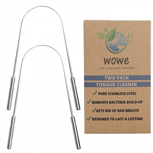 Tongue Scraper Cleaner (2 Pack) - Medical Grade Stainless Steel Metal - Get Rid of Bacteria and Bad Breath - by WowE LifeStyle Products (Stainless Steel)
