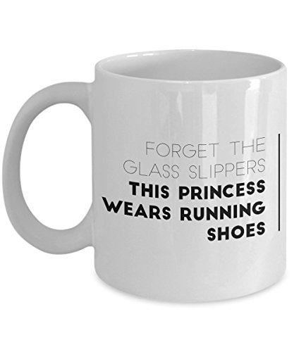 Funny Coffee Mug 11 Oz Ceramic Novelty Tea Cup Gift Forget The Glass Slippers This Princess Wears Running Shoes | Running Quote for Women Runner Sports Lovers Sister Family Friends | White]()