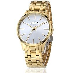 ZHHA Men's Watches 027 Quartz Gold Stainless Steel Bracelet Wrist Watch Waterproof