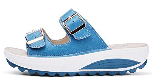 Blue ACE on Sandals SHOCK Platform Leather Flat Slip Slippers Casual Summer Wedges Women q1qS4gWHw