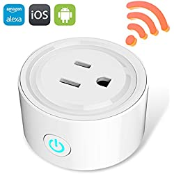 Mini Wifi Smart Plug, eSamcore Remote Outlet Timer Switches, Smart Socket, Control your Devices from Anywhere, No Hub Design, Works with Amazon Alexa