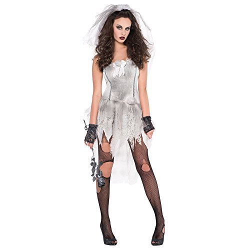 UK 8-10 Small - Adults Ghost Bride Zombie Drop Dead Gorgeous White Ghostly Dress with Bridal Veil Bridezilla Fancy Dress Costume by Fancy Dress -