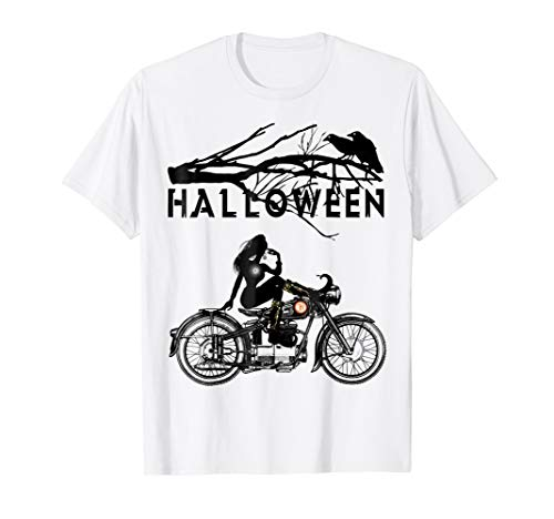 Witch Riding Motorcycle T-shirt | funny Halloween costumes -