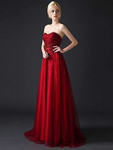 Beauty Sweet Sweep Wein Riemen Rosette Brautkleider ärmellose Rot Emily Heart Tailing frqBwfx