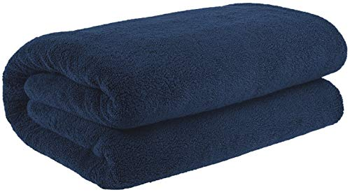 (40x80 Inches Jumbo Size, Thick and Large 650 GSM Bath Sheet Cotton, Luxury Hotel & Spa Quality, Absorbent and Soft Decorative Kitchen and Bathroom Turkish Towels, Navy Blue)