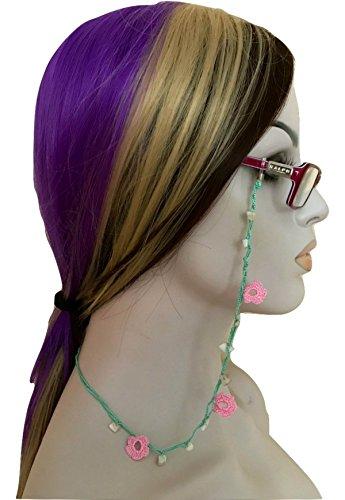 Light Green Pink Eyeglass Chain Holder Hand Crocheted Beaded