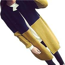 Hot Sale! Napoo Women Hit Color Patchwork Button Long Jackets Slim Cardigan Coat Outwear