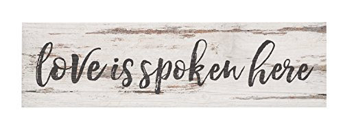 P. Graham Dunn Love is Spoken Here Script Whitewash 6 x 1.5 Pine Wood Tabletop Toothpick Sign -