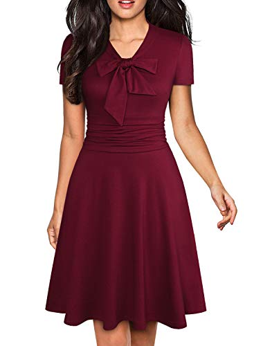 - YATHON Women's Fashion Burgundy Bow Tie Evening Party Dress Retro Ruched Stretchy Cotton Above Knee-Length Church Tea Mini A Line Swing Dress (L, YT006-Burgundy)