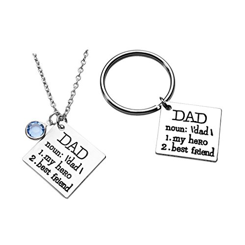 Top Plaza 2 PCS Dad My Hero Best Friend Keyring Keychain Necklace Set Fathers Day Daddys Birthday Gift Or Christmas For Grandpa Papa Husband