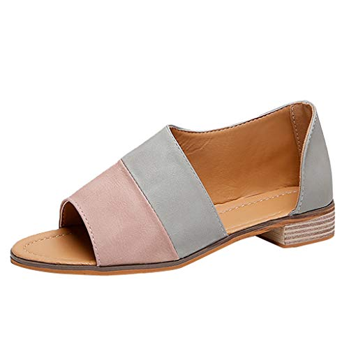 (Tantisy ♣↭♣ Women's Fish Mouth Patchwork Casual Sandals/Summer Fashion Low Heel Roman Shoes/2cm/0.79'' Pink)