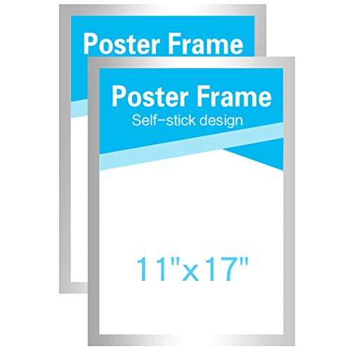 2 Double Sided Poster - MFoffice 11x17 Frame for Display AD,Sign,Poster,Picture,Made of Durable PVC and Strong Magnetic,Double Sided and Self Adhesive,Silver,Pack of 2