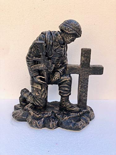 Solid Rock Stoneworks Kneeling Soldier at Cross- Autumn Brown- 22
