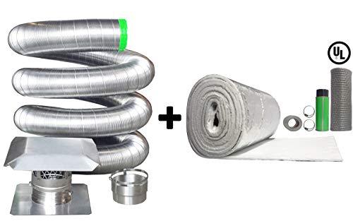 Rockford Chimney Supply Stainless Steel Flexible Chimney Liner Insert Kit, 6 inch x 15 Feet Blanket Insulation Kit (Flue Liners Flexible)