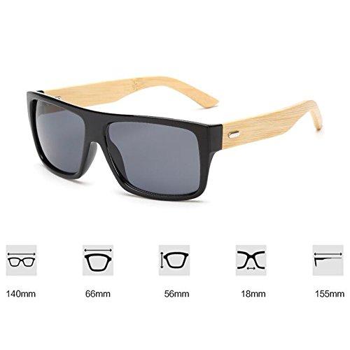Sunglasses Eyewear UV Anti New Black soleil Natural Lunettes Vintage Green Unisex de Wooden Frame Frame Meijunter Bamboo Summer Ixwt6vv4