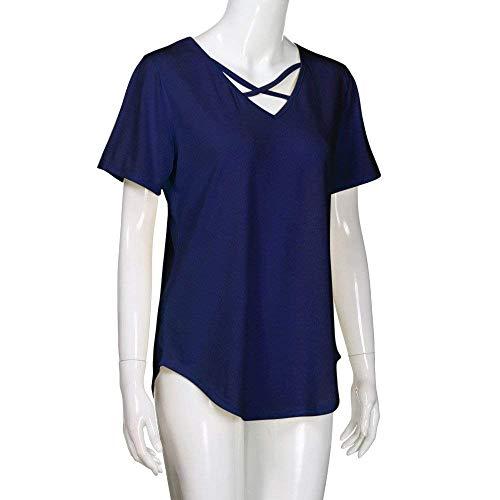 Femme Tunique Tee Haut Style V Hipster Croises Branch Shirts Party Manches Mode lgant Et Tops Courtes Couleur Cou Large Sangles Navy Shirt Unie Moderne rvrHdXwq