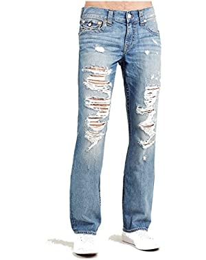 Men's Straight Leg Relaxed Fit Flap Destruct Jeans in Rocky Sand w/ Rips