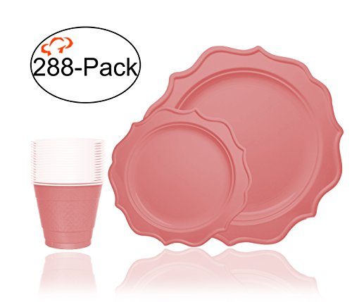 Tiger Chef 288-Pack Pink Color Heavy Duty Scalloped Rim Disposable Party Supplies Set for 96 Guests, includes 96 10-Inch Dinner Plates, 96 8-Inch Hard Plastic Plates and 96 9-Ounce Cups - BPA-Free Pink Dinner Set