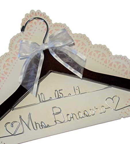 (Bride Wedding Dress Hanger - Dark wood or White wood hanger with notches - choice of 12 Bow Colors - Personalized Bride Name Silver wire - With or Without Wedding)
