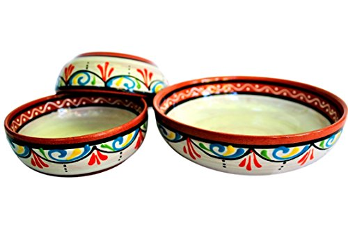 - Terracotta White Festive Set of 3 Small Dipping Bowls (European size) - Hand Painted In Spain